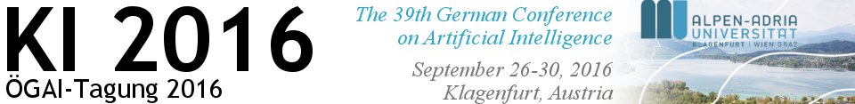 KI 2016 - 39th German Conference on Artificial Intelligence  (26-30 September 2016, Klagenfurt, Austria)