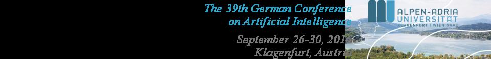 KI 2016 - 39th German Conference on Artificial Intelligence  (26-30 September 2016, Klagenfurt, Austria)